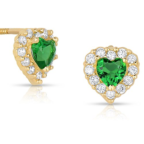 Tiny 14k Yellow Gold Heart Stud Earrings Cubic Zirconia Birth Month with Screw Backings (May)