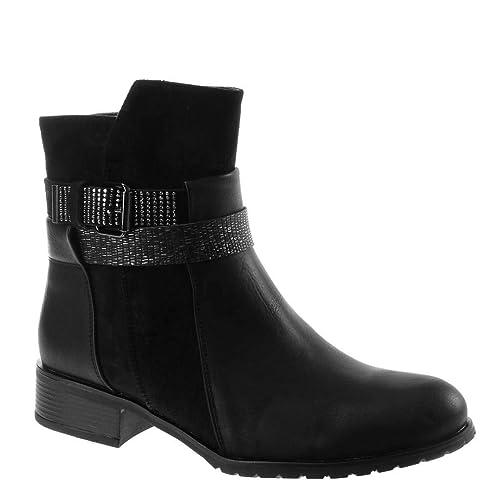 2e8b4fc361e0d Angkorly - Women s Fashion Shoes Ankle Boots - Booty - Biker - bi Material  - Rhinestone