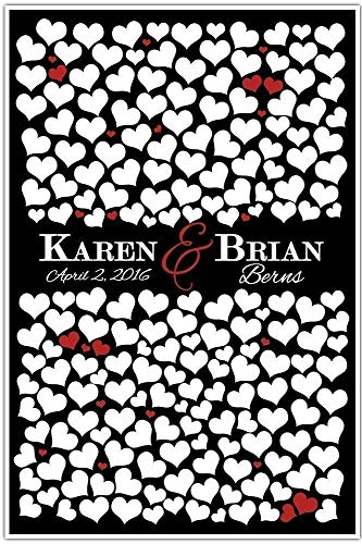 Personalized Wedding Guestbook Alternative Sign Poster Guest Signatures 200 Hearts Black and Red - any color combo