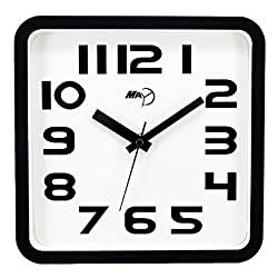 Maytime Modern Silent Non-ticking Wall Clock Square Black Frame Quiet Wall Clocks Large White 9 Inch