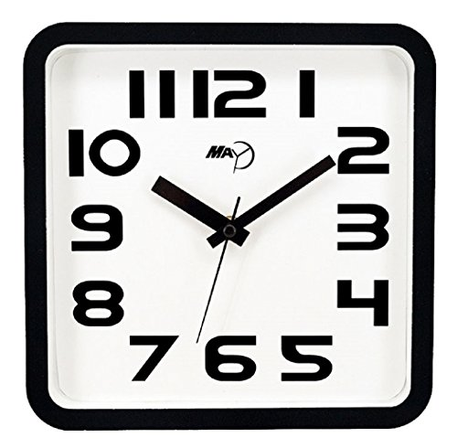 Modern Square Clock (Maytime Christmas Gift Modern contemporary Clear 2D Number Indoor Square Wall Clock Quartz Silent White 9)
