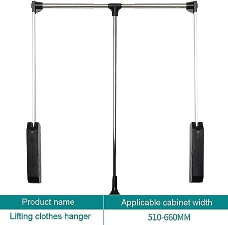 Automatic Rebound Cloakroom Hanger Rod GWXYMJ Coat rack Wardrobe Lifting Clothes Hanger Size : 450-600mm Hydraulic Buffer Rod Hanger Wardrobe Pull-down Adjustable Width Clothes Rail