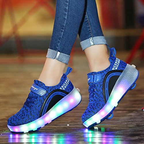 Adult Skate LED HotDingding Girls Light Shoes Roller Wheels with Boys Shoes for Sneakers Up for Kids 5TqYxBZwq