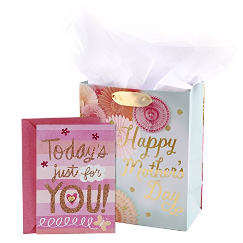 Hallmark Mother's Day Medium Gift Bag with Tissue Paper and Greeting Card (Floral and Pink)