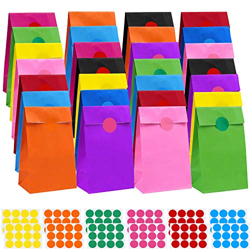 Colored Paper Bags (Cooraby 60 Pieces Mini Party Paper Bags Birthday Kraft Paper Bags Snack Paper Bag Party Bags with 144 Pieces Stickers for Kids Birthday Party)