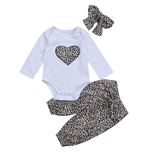 3PCS Set Leopard Newborn Baby Clothes Cute Long Sleeve Heart Print Romper Tops+Leopard Pant Headband Outfit (6M,as picture) ()