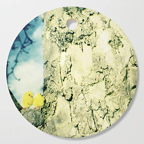 Society6 Wooden Cutting Board, Round, Little yellow chicks by gailgriggs