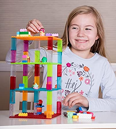 Strictly Briks Classic Baseplates 6 x 6 Brik Tower 100/% Compatible with All Major Brands 4 Blue Variants Stackable Base Plates /& 30 Stackers Building Bricks for Towers and More