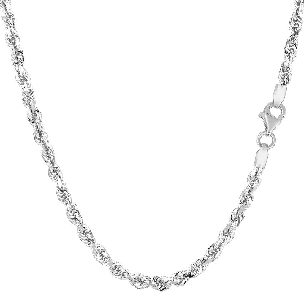 14K Yellow or White Gold 3.00mm Shiny Diamond-Cut Royal Rope Chain Necklace for Pendants and Charms with Lobster-Claw Clasp (7'', 8'', 16'', 18'', 20'' 22'', 24'' or 30 inch)
