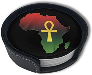 FUNCOOLCY Ankh African Colored Coasters for Drinks with Holder Set,Leather Coasters Set of 6,Round Cups Mugs Mat Pad for Home Kitchen Decor