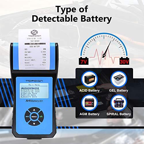 Battery Tester TOPDON AB201 Battery Analyzer 12V/24V 100-2000 CCA with Cranking/Charging/Battery Tests, Data Printing/Export/Review Functions for DIYers and Garages Battery Load Tester –Black and Blue by TT TOPDON (Image #3)