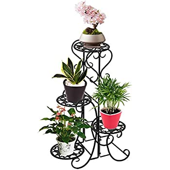 3 Level Oval Wrought Iron Plant Stand for Storing Wide Variety of Potted Plants