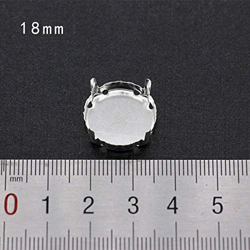 (Pukido 30p Empty Base Setting sew on Rhinestones Faceted Crystal Jewels's Silver Plated Blank Claw for Stone Garment Accessories Link 1 - (Color: 18mm Round))