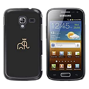 YOYOYO Smartphone Protección Defender Duro Negro Funda Imagen Diseño Carcasa Tapa Case Skin Cover Para Samsung Galaxy Ace 2 I8160 Ace II X S7560M - una corona en elefante, dibujo
