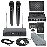 "Samson Stage 200 - Dual-Channel Handheld VHF Wireless System (Channel D) W/ Deluxe Accessory Bundle and Hard Equipment Case + 2 X ¼"" Cables + XLR Cable + FiberTique Cleaning Cloth"