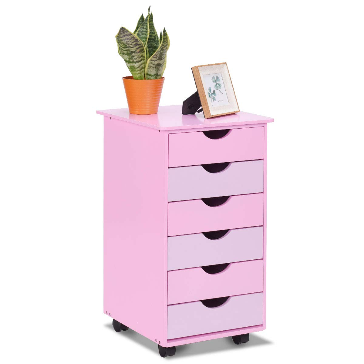 Costzon 6-Drawer Mobile File Storage Cabinet w/Wheels, Wood Removable Bedside Table, Organization 6 Drawer for Closet, Office, Girls, Bedroom Children, Kids Furniture Pink by Costzon