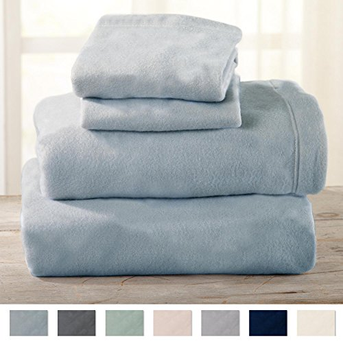 King Size Flannel Sheets (Maya Collection Super Soft Extra Plush Polar Fleece Sheet Set. Cozy, Warm, Durable, Smooth, Breathable Winter Sheets in Solid Colors. By Home Fashion Designs Brand. (King, Cloud Blue))