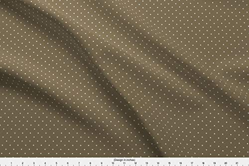 Brown Polka dots Fabric - Brown Spot Spotty Polka Dot Minimal Design Classic by Hazelfishercreations Printed on Eco Canvas Fabric by The Yard