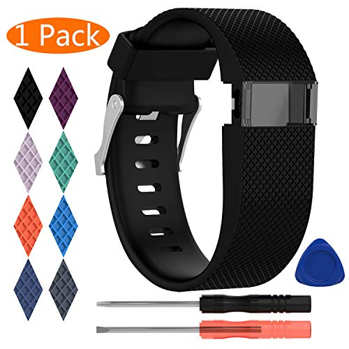 KingAcc Compatible Replacement Bands for Fitbit Charge HR, Soft Silicone Band with Metal Buckle Fitness Wristband Sport Strap Women Men (1-Pack, Black, Small)