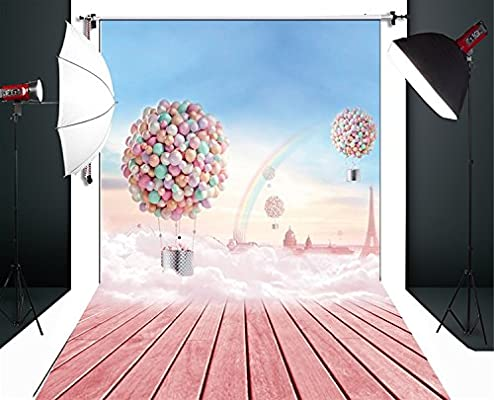 Tel/ón de fondo para fotograf/ía suelos de madera rosa y globos XT-4096 Huua YI 1,52 x 2,20/m
