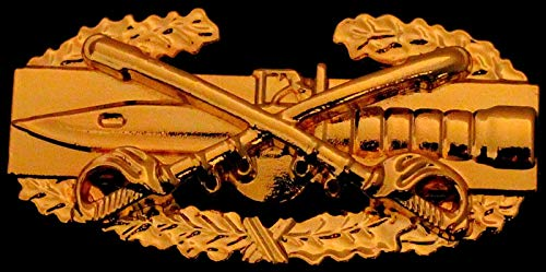 (Quality Handcrafts - Cavalry Combat Action Badge US Army CAB Military Cav Sabers Insignia Gold Pin - Accessories for Clothes Decoration)