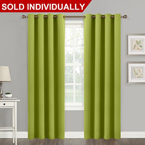 Blackout Curtain Window Panel Drape - (Green Color) Thermal Insulated Window Covering Room Darkening Grommet Top Drapery for Living Room by NICETOWN, 52Wx84L, 1 Piece