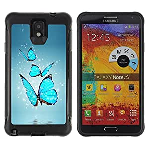 Jordan Colourful Shop@ BLUE BUTTERFLIES Rugged hybrid Protection Impact Case Cover For Note 3 Case ,N9000 Leather Case ,Leather for Note 3 ,Case for Note 3 ,Note 3 case