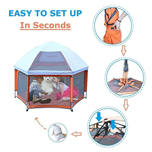 - Pop 'N Go - The World's Best Kids Playpen - Lightweight & Portable - For Inside or Outdoor Use - Safety Locks Keep Playpen Firmly Planted and Secure - Free UV Shade with Every Order!(Orange and Gray)