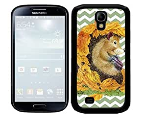 linJUN FENGAutumn Hedgehog with Fall Leaves and Pastel Green Chevron Pattern 2-Piece Dual Layer High Impact Black Silicone Cell Phone Case Cover Samsung Galaxy S4 I9500