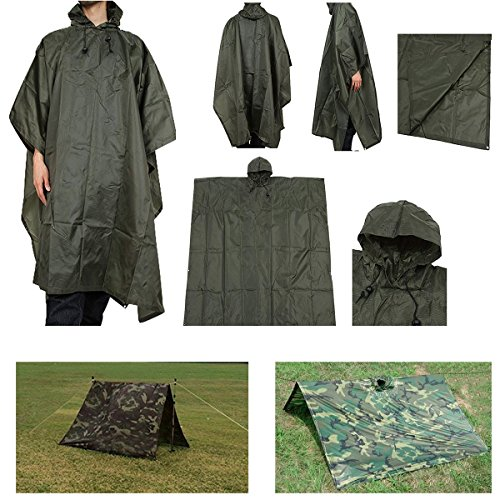 Waterproof Green Military Poncho Shelter