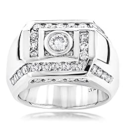 Men's Natural Platinum Diamond Ring (1.9 Ctw,G-H Color)