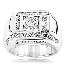 Men's Natural Platinum Diamond Ring (1.9 Ctw,G-H Color)