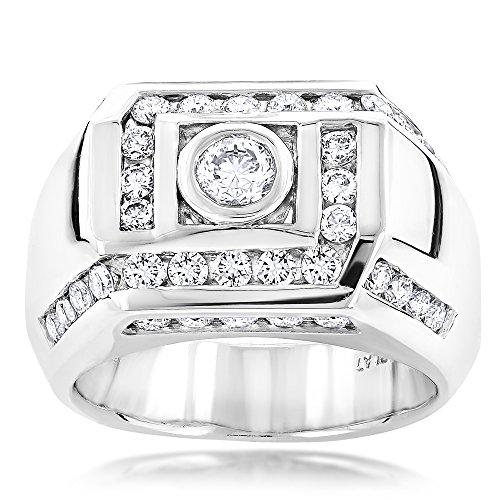 Luxurman Unique Platinum Men's Natural Diamond Ring (1.9 Ctw,G-H Color)
