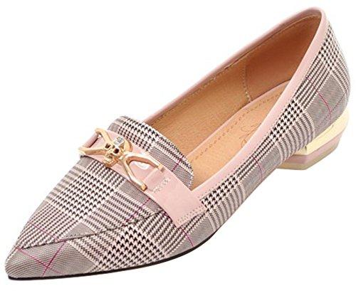 (Mofri Women's Trendy Checkered Loafers - Pointed Toe Skull Belt - Slip on Block Low Heels Pump Shoes (Pink, 10 B(M) US))