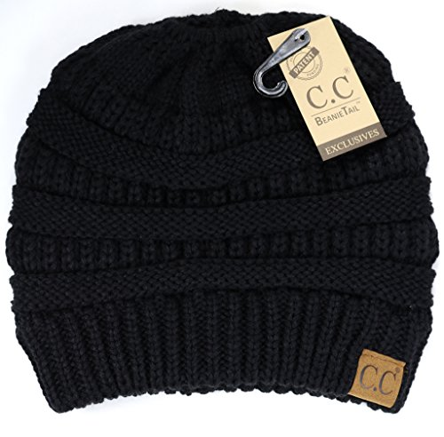 f2c3553dadd09 Crane Clothing Co. Women s Solid Classic CC Beanie Tail One Size Black