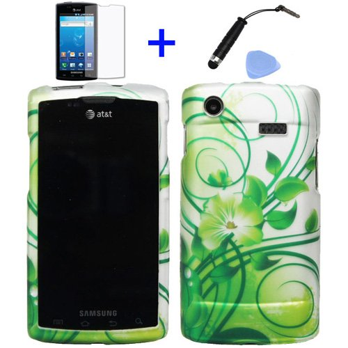 - 4 items Combo: Mini Stylus Pen + LCD Screen Protector Film + Case Opener + Silver Green Vine Hawaiian Flower Design Rubberized Snap on Hard Shell Cover Faceplate Skin Phone Case for Samsung Captivate Galaxy S i897 (AT&T)