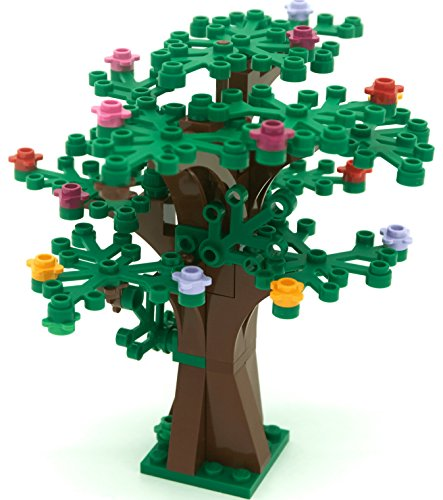 LEGO Custom Creative Tree Kit 1 (Brown with 16 Green Leaves and 18 Flowers)
