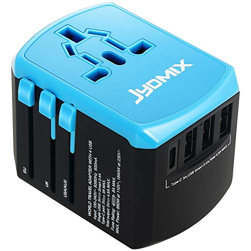 (All in One Universal USB Travel Power Adapter with 3 USB Port and Type-C International Wall Charger Worldwide AC Power Plug 8 Pin AC Socket for Multi-Nation Travel UK, EU,)