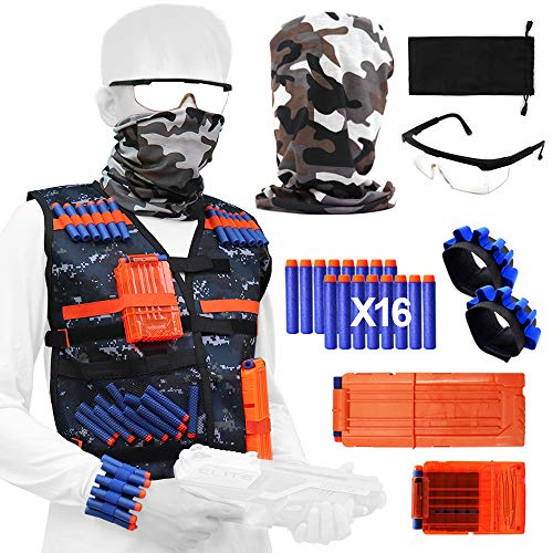 Tactical Vest Jacket Kit for Nerf Toy Gun N-Strike Elite Series with Camouflage Vest+Camouflage Mask+Darts+Clips+Wrist Bands+Glasses for Children