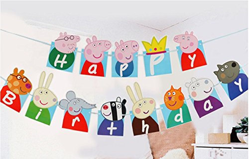 Birthday Banner ❤Peppa Pig Birthday Decoration Flag Peppa Pig Flag for Birthday Decoration (with One Bonus Sheet of Sticker) for $<!--$7.98-->