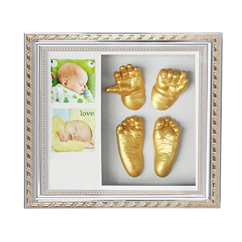 SPACECARE 3D Plaster Handprints Footprints Baby Adult Hand&Foot Casting 3D Print DIY Kit Keepsake Memorable Decorations picture Frame, 9.2 x 10, Best Newborn Baby Boy/Girls Gifts!