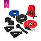 x factor door gym - Premium Resistance Band Set with Handles, Door Anchor and Ankle Attachments by The X Bands - Tube Bands with Anti-Snap Nylon Cover - Long Fitness Exercise Bands (Red-Black-Blue / 20-40-60 lb)