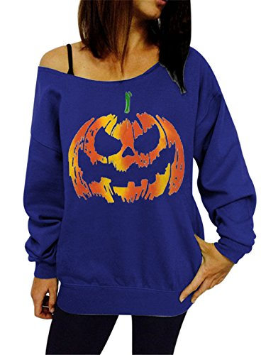 Women Halloween Theme Pumpkin Print Off Shoulder Top Sweatshirt Blue S