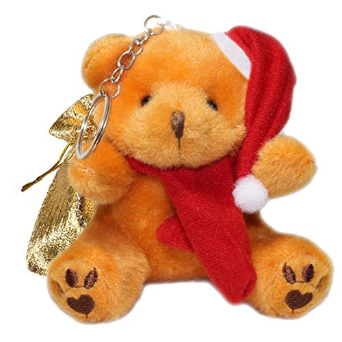 Lucore Santa Claus Teddy Bear Plush Stuffed Animal Keychain - Christmas Hanging Toy Doll, Lucky Charm & Ornament (Caramel)