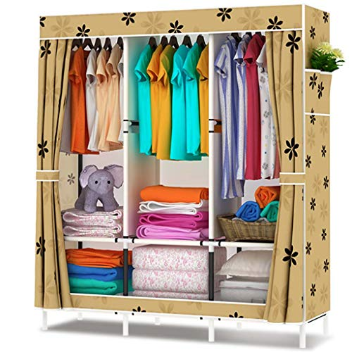 Jian E Cloth Wardrobe-Simple Wardrobe Steel Frame Fabric Oxford Cloth Wardrobe Assembly Double Queen Wardrobe Economy / (Color : B)