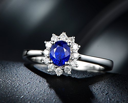 Solid 18k white gold promise ring,0.12ct SI-H Diamond engagement ring,0.5ct oval Natural blue Sapphire,pave set ()