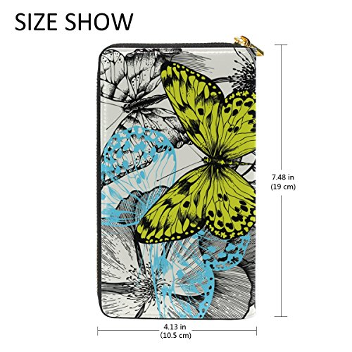 TIZORAX Wallet Womens Butterfly And Clutch And Roses Purses Organizer Blooming Around Handbags Flying Zip rnx4XrOq