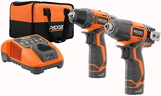 RIDGID R9000 12V Lithium-Ion 2 Tool Cordless Drill Driver and Impact Kit with 2 1.5Ah Batteries