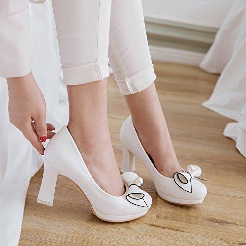 avec Noeud Blanc pour Mariage Y2Y Elegantes Bout Talon Travaille Rond de Fleurs Bloc Femmes Studio Escarpins cBOStgO