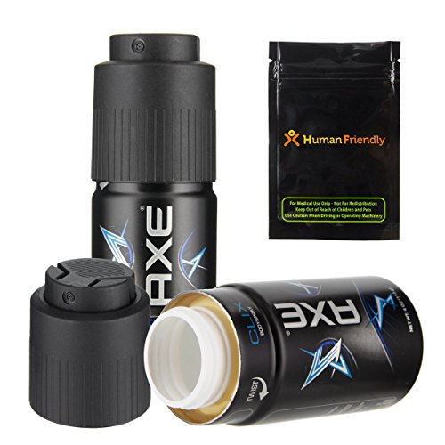 Axe Body Spray Diversion Safe Stash Can w HumanFriendly Smell-Proof Bag (Assorted) by HumanFriendly